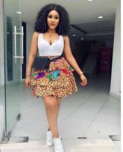 four steps ankara short flay skirt with top for beauty queens