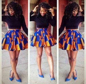 cute ankara short flay skirt with long sleeve crop top style