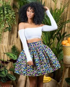 ankara high waist short flay skirt with off shoulder, long sleeve crop top style