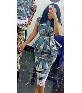 classy ankara peplum blouse with fringe skirt for ladies