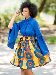 short ankara maxi skirt with classy blouse for young ladies