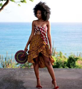 african print up and down short skirt with sleeveless ankara crop top style