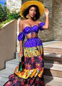 ankara maxi skirt with off shoulder crop top, with hat, for slim, curvy ladies