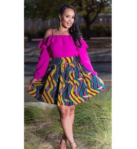 classy ladies short flay skirt with long sleeve, off shoulder blouse style