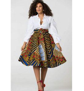 high waist ankara short skirt with long sleeve blouse, office work dress style