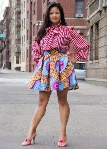 ankara long sleeve blouse with short flay skirt style