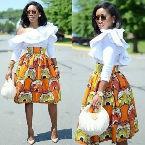 high waist maxi skirt with top with cape, on e side off shoulder blouse style