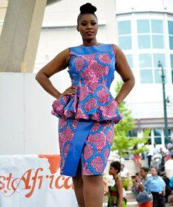 short sleeve ankara peplum blouse with short wrapper skirt style