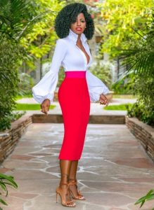 plain ankara pencil skirt with long, puffed sleeve blouse for young ladies
