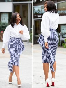 unique ankara high waist pencil skirt with long sleeve blouse, church and office fashion styles