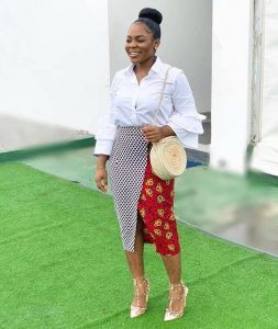african print front-split pencil skirt with blouse