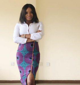 high waist ankara pencil skirt with zip, rocked with long sleeve blouse