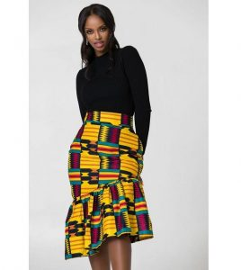 slanted flay short ankara skirt with top for young ladies