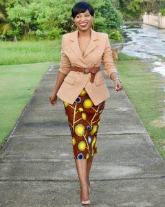 gorgeous ankara pencil skirt, worn with suit and waist belt