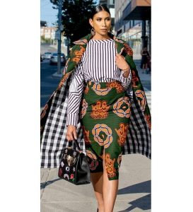 unique high waist pencil skirt with top and long ankara jacket