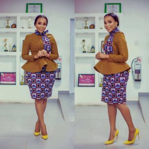 long sleeve ankara peplum blouse with short skirt