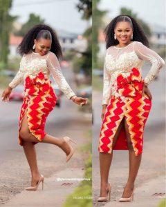 highly split ankara pencil skirt with long sleeve top