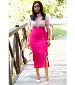 high waist pencil skirt with cute blouse for classy, curvy ladies