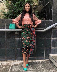 stylish ankara pencil skirt with lace blouse