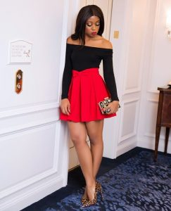 high waist ankara short flay skirt with off shoulder top for classy ladies