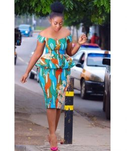 off shoulder ankara peplum blouse with short pencil skirt style for young ladies