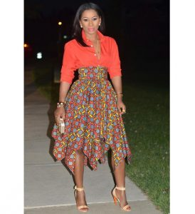 special ankara high waist maxi skirt with blouse