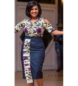 unique ankara straight cut skirt with blouse