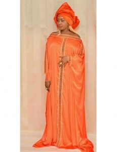 off shoulder ankara boubou gown with hair tie
