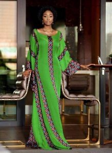 long ankara maxi gown for slim ladies