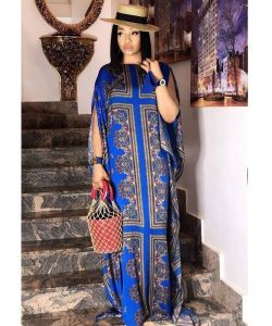 stylish long ankara gown with hat for church and wedding