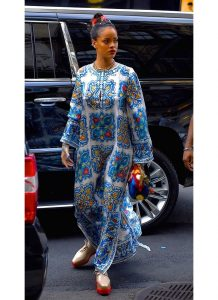 rihanna spotted in long ankara gown, celebrity style