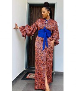 slit long ankara gown for young ladies