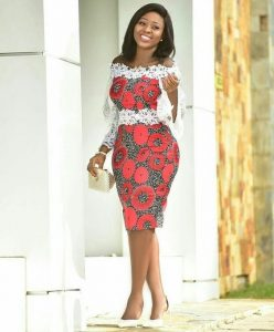 off shoulder ankara short gown for young curvy ladies