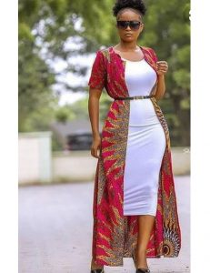 long ankara gown with long jacket for curvy ladies