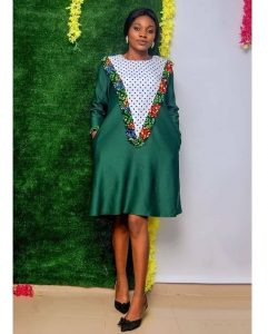 short ankara gown style for slim young ladies