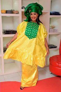 stylish ankara boubou blouse with long skirt