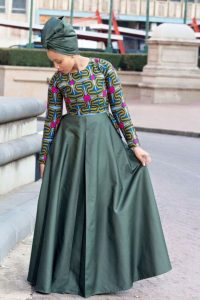long plain and pattern ankara maxi gown for young ladies