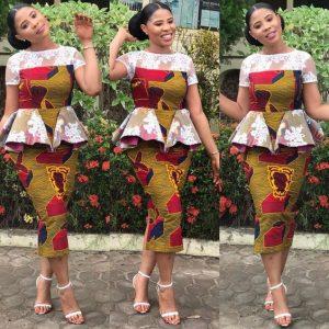 ankara peplum blouse with short skirt style