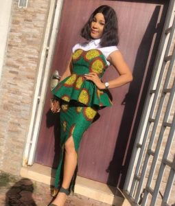 cute ankara peplum blouse and long skirt for young ladies