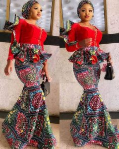 trending ankara long mermaid skirt with peplum blouse style for young ladies