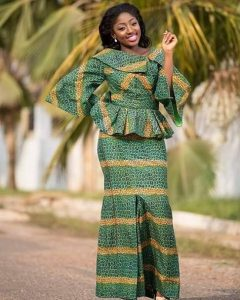 ankara peplum blouse and skirt for young ladies