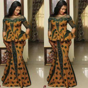ankara lace long skirt and blouse
