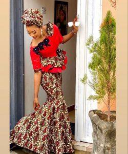 cute ankara peplum blouse with long mermaid skirt for church and wedding