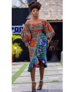 short off shoulder ankara gown for wedding and church
