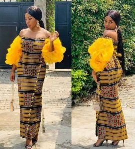 stylish ankara long gown for young ladies, church, wedding