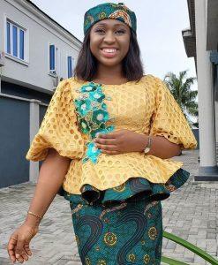 cute ankara peplum blouse for church and wedding
