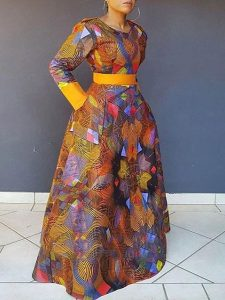 cute fitted ankara long gown for church and wedding