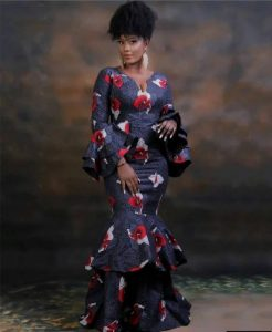 long ankara peplum gown style for pretty ladies