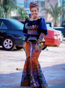 classy ankara long skirt and and peplum blouse style for wedding and church