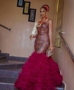 sleeveless ankara lace gown for traditional wedding